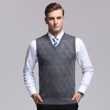 High quality mens plain wool sweater vest casual male v-neck cashmere sweater sleeveless pullover plaid sweater