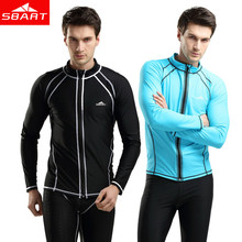 SBART Rashguard Men Top Long Sleeve Lycra Surf Rash Guard Men Jacket Zip UV Rushguard Snorkel Shirt Swim Plus Size Rash Guards(China)