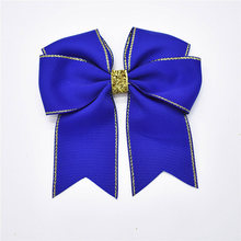 "14pcs 4"" Softball Cheerleader Cheer Performence Bows School Hair Bow with Glitter Lines Girls Clips for Juniors(China)"