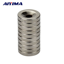 AIYIMA 10pcs Round Diameter 15MM*3MM Hole 4MM Magnets Rare Earth NdFeB Neodymium Magnetic Ring 15*3*4mm Strong Magnet 15x3x4