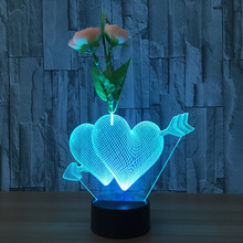 3D desk lamp Romantic Love Cupid Arrow Through Double Heart LED USB Lamp Sweetheart Lovers Wedding Decoration Colorful Night(China)