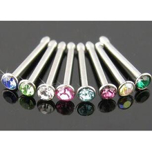 4 Pieces Mix Color 0.8*6*2mm Crystal Nose Ring Nose Stud Ring Barbells Tragus Earring Body Piercing Jewelry Free Shipping