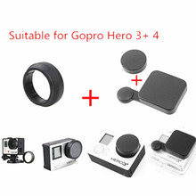 2016 New Go pro Accessories Protective Camera Lens Cap+Housing Case Cover+UV Mirror Lens Protector Cover For Gopro Hero 4 Hero3+
