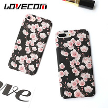 LOVECOM Hard Plastic Phone Cases For Apple iPhone 6 6S 7 7Plus Matte Back Cover Shell Beautiful Flower Peach Blossom Coque