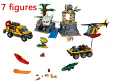 Lepin 870pcs City Jungle Explorers Building Blocks JUNGLE EXPLORATION SITE Model Bricks Kids Toys Compatible With Lego 60161