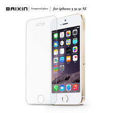 Baixin 10PCS/Set 0.3mm 2.5D Premium Tempered Glass Screen Protector Toughened protective film For iPhone 5 5s 5c + Cleaning Kit