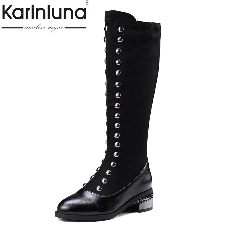 KARINLUNA new large sizes 32-48 knee-high boots fashion square heels black women shoes woman riding boots winter<br>