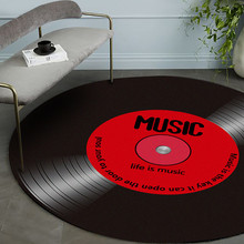 Bedroom Rug Carpets Floor-Mat Vinyl Record Soft-Fabric Round Home-Decor Music-Printed
