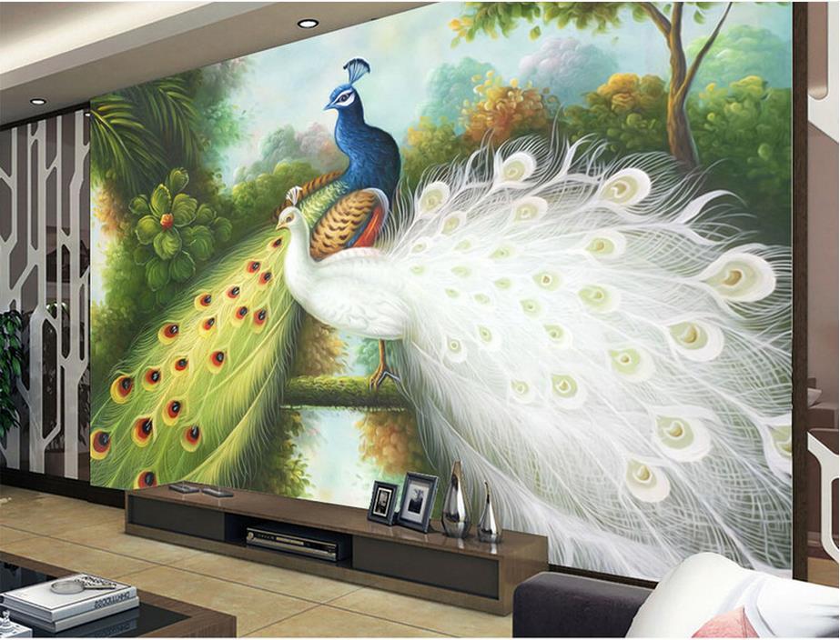 3d murals wallpaper customized 3d photo wall mural Hand painted peacock papel de parede do desktop wallpaper luxury<br><br>Aliexpress