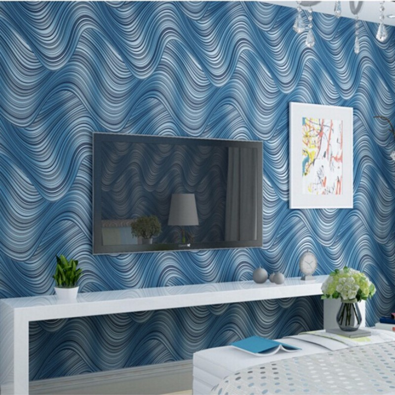 Beibehang 3d wallpaper contemporary and contracted luxurious sitting room TV 3d fashion abstract blue water lines 3d wallpaper<br>