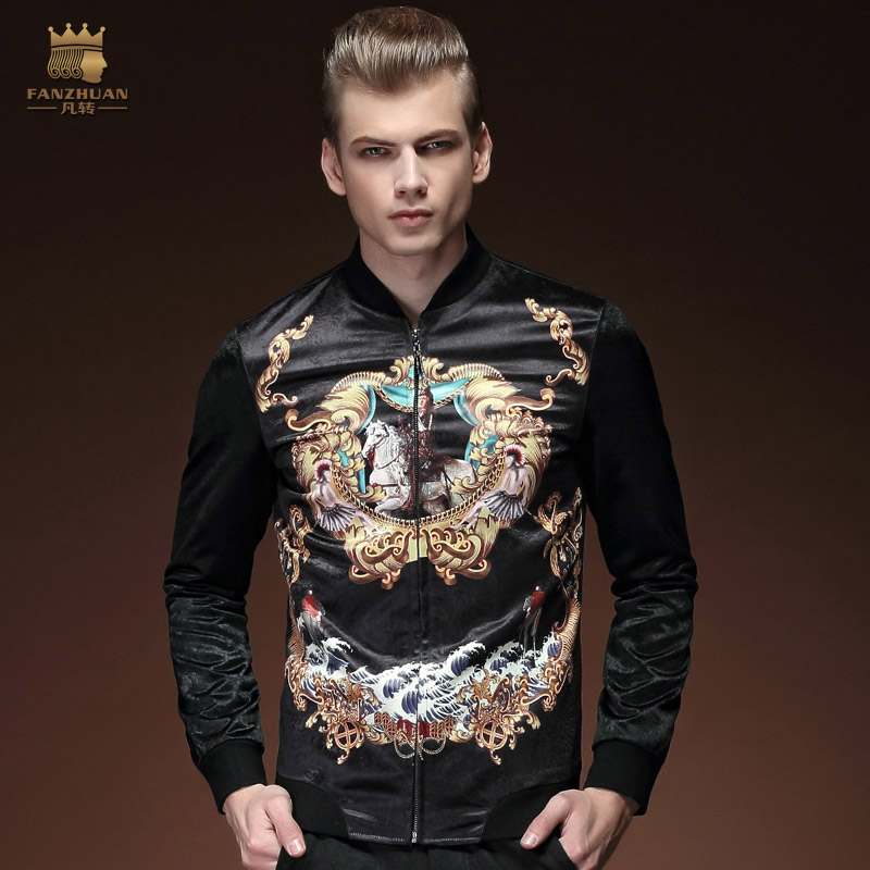 FanZhuan free shipping Fashion casual new men's male man spring printed jacket slim collar personality original thin coat 15006