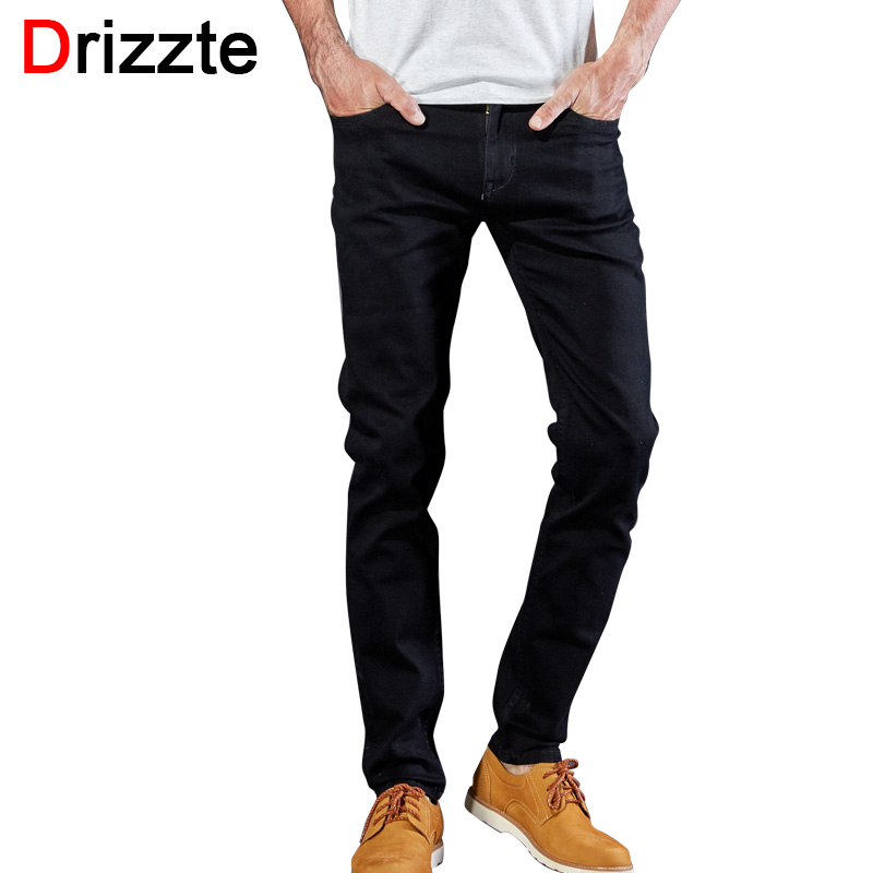 Drizzte Men Classic Black Denim Jeans Stretch Slim Fit Denim Plus Size 36 38 40 42 44 Full Long For Mens JeanОдежда и ак�е��уары<br><br><br>Aliexpress