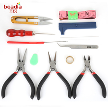 13-16PCs/Set Free Shipping Jewelry Beading Needles Findings Crimping Ruller Scissors Tweezer Crimper Pliers Tool