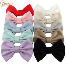 10pcs/lot 5'' Big Suede Bow Girls Solid Hair Bows Hair Clips For Kids Fall And Winter Leather Hairbow Headband Hair Accessories(China)