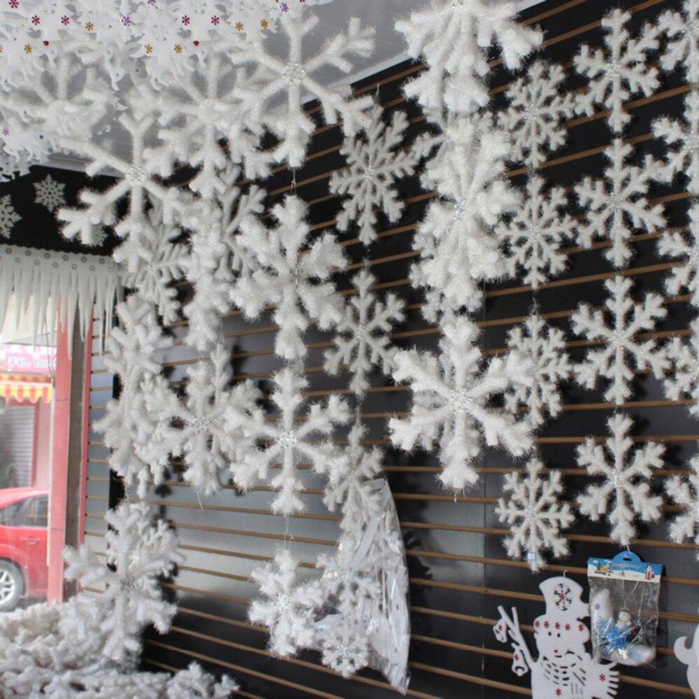 2Pcs White Snowflake Ice Strip Ornament Christmas DIY Window Decor Popular