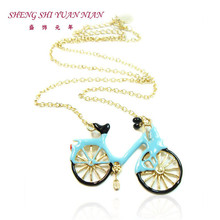 XQ Free shipping 2015 Europe and the United States popular jewelry light blue British bicycle short necklace female ornaments