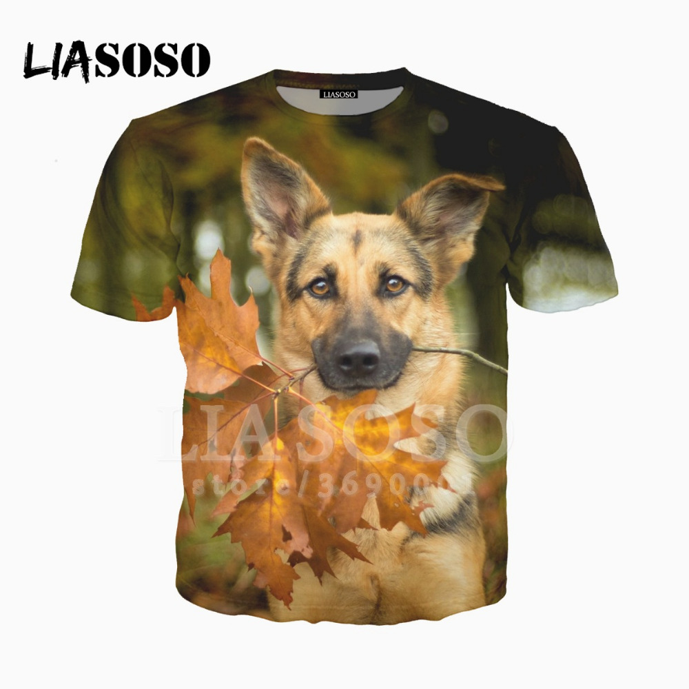 Unisex Youth 3D Dog Head Cool 3D Printing T Shirts Short Sleeve Kids Tee