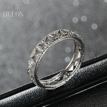 HELON Brilliant Full Eternity Band 0.1ct Natural Diamond Engagement Wedding Art style Ring Women's Jewelry Solid 10K White Gold