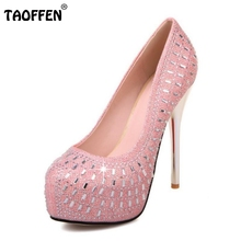 Size 32-42 Wedding Party Shoes Women High Heel Pumps Sexy Platform Inside Fashion Rhinestone Thin Heel Brand Heels Footwear