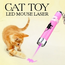 2016 Creative and Funny Pet Cat Toys LED Pointer light Pen With Bright Animation Mouse Random Color(China)