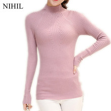 Sexy Women Knitted Sweaters 2017 Spring Long-Sleeve Turtleneck Pink Solid Women Sweater New Fashion Crochet Pullovers Knitwear