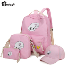 4Pcs/Sets Girls Backpacks Cartoon Rabbit Printing School Backpack Cute Canvas Schoolbags Teenage Women Students Bag Children - FashionUp-50% off for all Store store