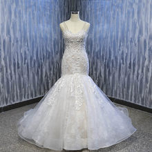 Lover Kiss Vestido De Noiva 2019 Luxury Lace Mermaid Wedding Dress Arabic Bridal  Gown Straps Beaded Pearls Dresses Wholesale 15292b4f16ca