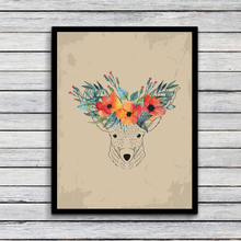 Floral Vintage Deer head Art Print Art Print painting Poster, Wall Pictures for Home Decoration Wall Decor,  FA283
