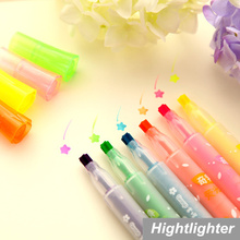6 pcs/Lot Star Marker Color Highlighter pen for reading book Fluorescent drawing pen office material School supplies 6260(China)