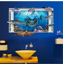 shark whale dolphin animals blue sea world ocean zoo window home decals wall sticker 3D bathroom washroom kitchen wall art