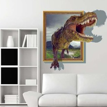 New High Quality Colorful 60*90cm 3D Big Dinosaur View Removable Wall Sticker Art  Mural Decal Good Design For Room Decor