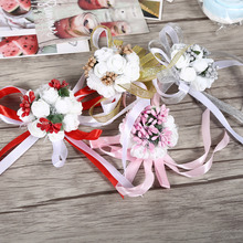 Wedding Bridesmaid Hand Flowers  Artificial Bride Flowers Wrist Corsage Party Wedding Prom Dance Hand Ribbon Flower Decoration
