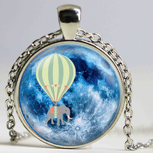 Hot Air Balloon Elephant Blue Full Moon Pendant Necklace Glass Art Print Jewelry Charm Gifts for Her or Him animal space flying(China)