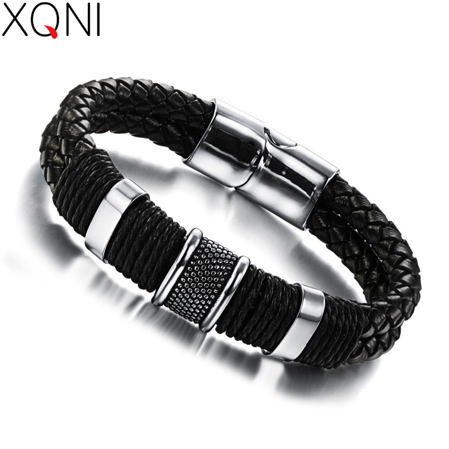 OPK-Handmade-Genuine-Leather-Weaved-Double-Layer-Man-Bracelets-Casual-Sporty-Bicycle-Motorcycle-Delicate-Cool-Men