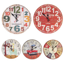 30CM Vintage Circle Mute Wall Clock Number Needle Wooden Wall Clock for Kids Bedroom Living Room Home Decorations