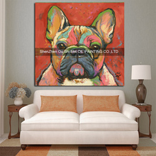 Hand Painted Modern Bulldog Painting On Canvas For Living Room Knife Oil Painting Home Decor Picture Animals Dog Painting(China)