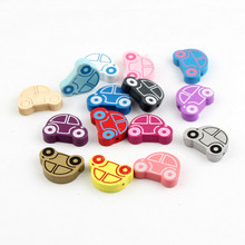 Pick Color Wooden Cute Car Spacer Beading Beads 25x18mm for Jewelry Making Baby Pacifier Clip Wood Bead(China)