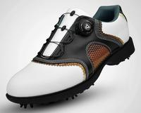 2017 New men golf shoes, shoes, waterproof head layer cowhide, rotate shoes lace