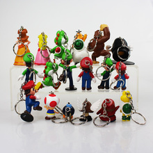 18Pcs/Set 5~6cm PVC Figure Toys Super Mario Bros Figures With Keychain Luigi Peach Toad Yoshi Mario Great Gift For Children(China)