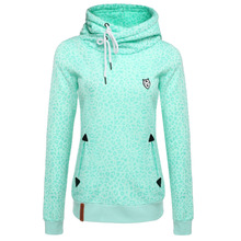 Women Green Sweatshirt Slim Leopard Print Pullover Hoodies Long Sleeve Autumn Winter Front pockets Hoodies