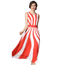 Women Hobo Tank Dress 2017 Summer High Waist O-Neck Chiffon Dresses Female Striped Robe Plus Size Vestido de Festa Blue Red N618()