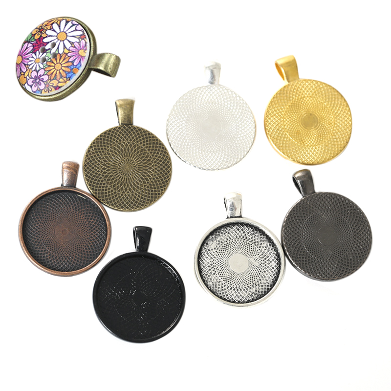10Pcs Jewelry Base Tray Setting Bezel Necklace Pendant Blanks DIY Jewelry Making Findings
