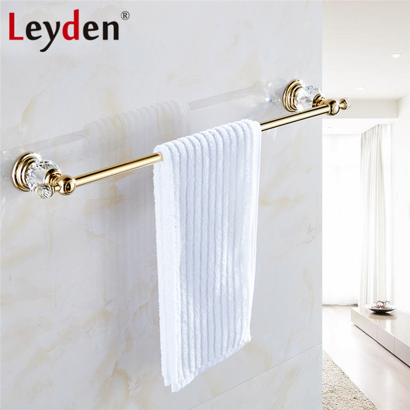 Leyden Luxury Crystal Towel Holder Gold Finish Single Towel Bar Clothes Hanger Wall Mounted Towel Hanger Bathroom Accessories<br>