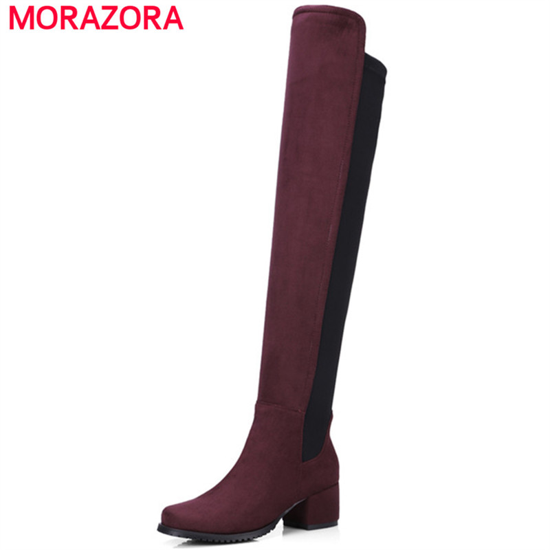 MORAZORA Square heels shoes 5cm over the knee boots mixed colors round toe flock stretch boots for women big size 34-43<br>