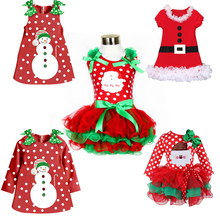Pretty Baby Girl Party Dress First 2nd Christmas Dresses Red Fancy Santa Claus Festival Tulle Costume For Baby New Year Dress Up