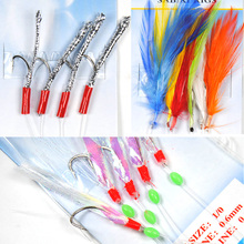 [10 Bags] Sabiki Feather / Tinsel Tube / Flash Rig Size 1/0 Assortied Bait Fish Catching Rigs Wholesale / Retail(China)
