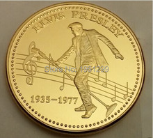 1935-1977 the king of Rock and roll, ELIVS PRESLEY Coins 1pcs/lot Free Shipping gold plated souvenir coin free shipping(China)