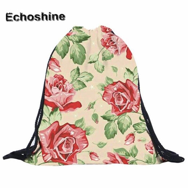 Fashion Canvas Backpack 3D Printing Travel Soft Flower Backpack Casual Women Drawstring Bag Mens Backpacks Tote Bag<br><br>Aliexpress