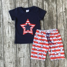 baby boys summer star clothing set capri red stripe American flag USA children July 4th Patriotic girl clothes boys outfits(China)
