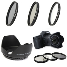58mm UV CPL ND4 Circular Polarizing Filter Kit Set + Lens Hood With Case For Canon Digital Camera DSLR SLR